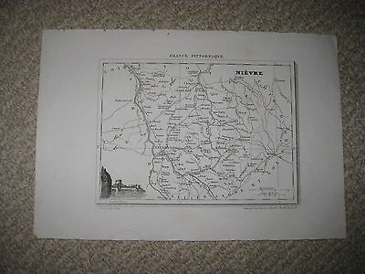 Antique 1835 Nievre Nevers France Map W Engraving Wine Food Interest Superb Nr