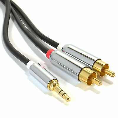 2m PRO OFC 3.5mm Stereo Jack to 2 x RCA Phono Plugs Cable Gold [007945]