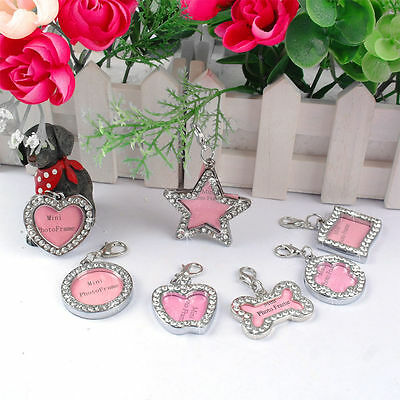 Dog Cat Pet Puppy Name Tag ID Pendant Charm Collar Personalised Crystal ID Tags