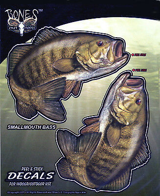 Small Mouth Bass Decals Bumper Stickers Right Left Facing Gifts Fishing Men Boys
