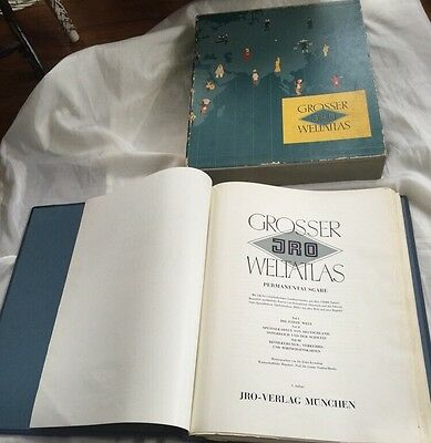Huge JRO Grosser Weltatlas 1966 World Atlas In German Great Maps