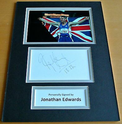 Jonathon Edwards SIGNED autograph A4 Photo Mount Display Olympic Triple Jump COA