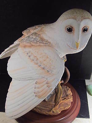 Franklin Mint 1987 THE BARN OWL With Detachable Base