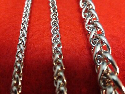 "3/4/7/8MM Mens  16-60"" STAINLESS STEEL SILVER BRAIDED WHEAT ROPE CHAIN NECKLACE"