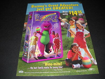 BARNEY the purple dinosaur Just Got Greater MOVIE Promo Poster Ad mint condition