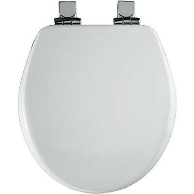 BEMIS Chrome Slow Close Round Closed Front Toilet Seat in White 9170CHSL 000 NEW