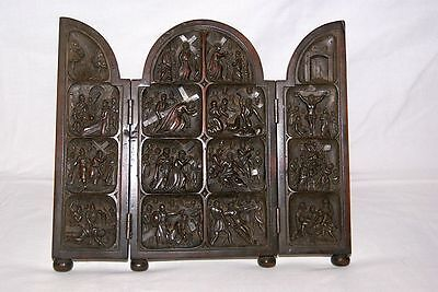 """Antique carved 19th Century Traveling Altar, """"The passion of christ"""""""