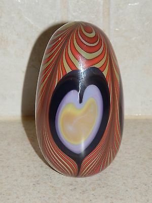 """Robert Levin Contemporary Art Glass Paperweight Signed Dated 4"""" 1984"""
