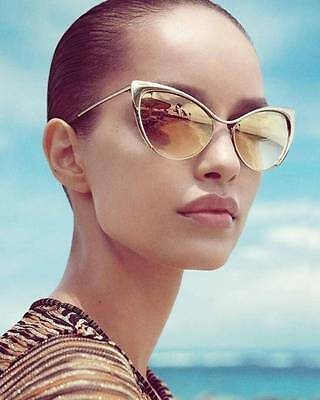 Designer Nastasya Style Cat Eye Mirrored Lenses Metal Frame Women Sunglasses