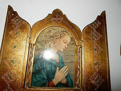 Beautiful Vintage Italian Gilt Wooden Religious Triptych