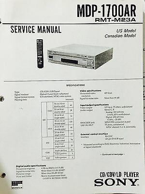 Sony Service Manual for MDP-1700AR CD/CDV/LD PLAYER reprint loose leaf