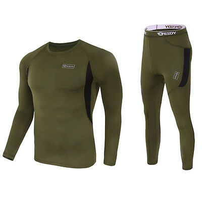 New Mens Compression Athletic Tights Base Layer Warm Long Sleeve Tees Pants Suit