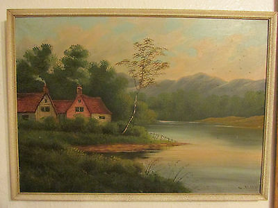 Large Vintage Oil Painting On Canvas 'The Cottage' Signed By G. Elsey