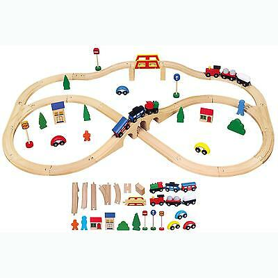 New Childrens Kids Wooden Toy Railway Train Track Set 49 pce Playset Push-Along
