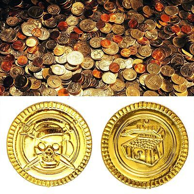 Lot Golden Pirate Coins Treasure Chest Play Trophy Money Kid Birthday Party Gift