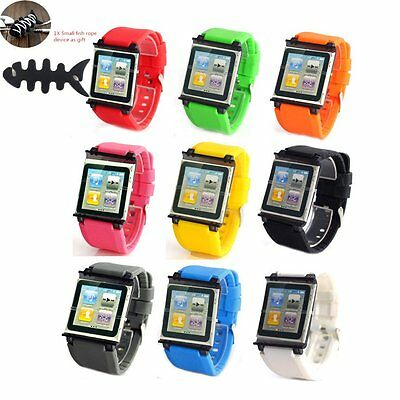 #M For Apple iPod Nano 6 6th Gen Wrist Strap Silicone Case Cover Watch Band+Gift