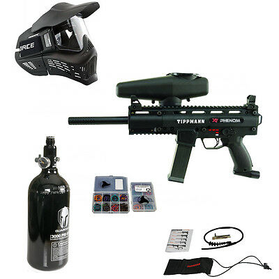 Tippmann X7 Phenom Package 4 / X-7 Paintball Marker w/ HPA Egrip Goggle + more