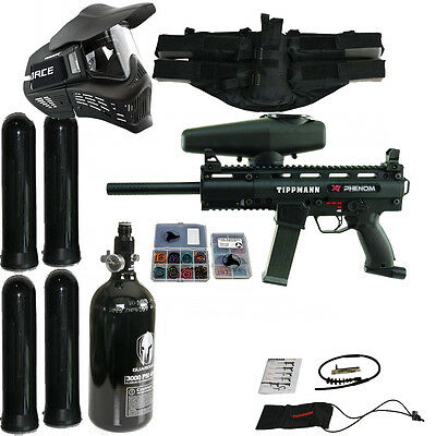 Tippmann X7 Phenom Package 5 / X-7 Paintball Marker w/ HPA Egrip Goggle + more
