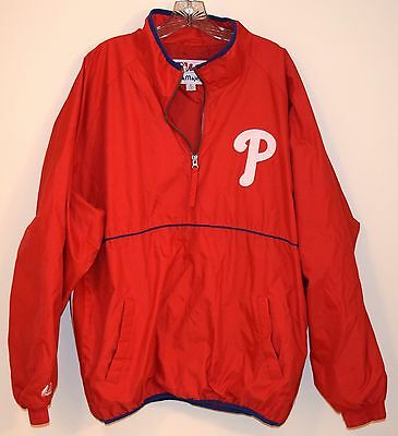 Very Nice Mens Philadelphia Phillies Majestic Pull Over Jacket Size Xl Extra Lar