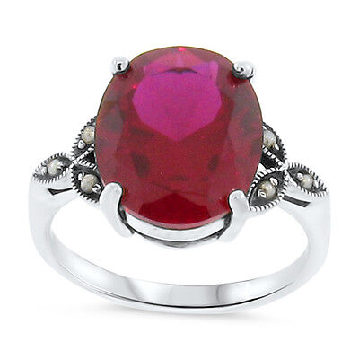 7 Ct Lab Ruby Antique Victorian Style .925 Sterling Silver Ring Size 10,    #103