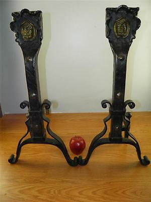 Antique Arts & Crafts Large Pair Andirons Hand Forged Iron  Bronze Monk Face