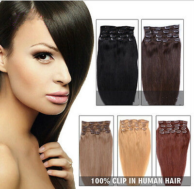 8 PCS Set Clip In Remy Human Hair Extensions Full Head 100g/110g Free Shipping
