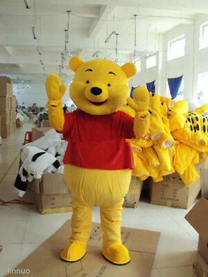 Brand New Adult Cartoon Mascot Costume Winnie the Pooh Bear Fancy Dress