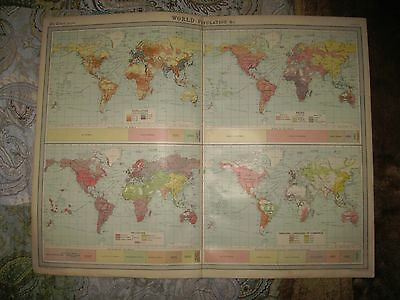 Huge Antique 1922 World Population Times Atlas Map Race Ethnology Religion Fine