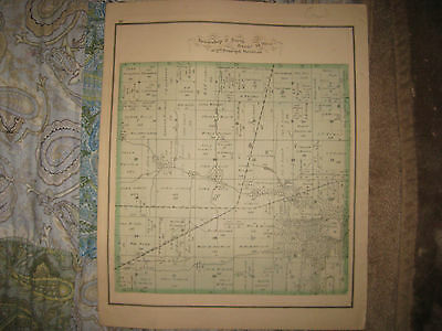 Antique 1875 Carroll Township Vermilion County Illinois Handcolored Map Rare Nr