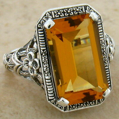 6 Ct. Hydro Citrine Art Deco Antique Design .925 Sterling Silver Ring Sz 6,#520