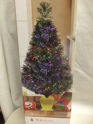 "NEW-32"" Green Fiber Optic Tree -Works With USB Or Plug-83 Tips & Stand"