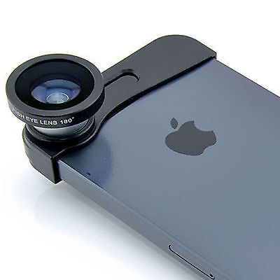 180° Fish Eye Lens+Wide Angle + Macro Lens 3-in-1 Kit for iPhone 5 5s