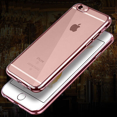"For 4.7"" / 5.5"" Plus iPhone 6 6S Ultra Slim Clear Plating TPU Soft & Hard Case"