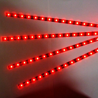 New 4 x 15 LED 12V 30cm Car Motor Vehicle Flexible Waterproof Strip Light Red