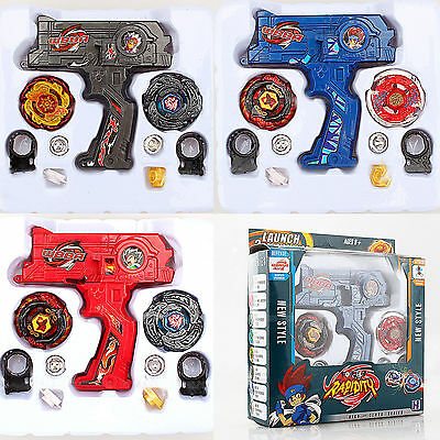 Metal Master Fusion Top Rapidity Fight Rare 4D Launcher Kids Grip Beyblade Set