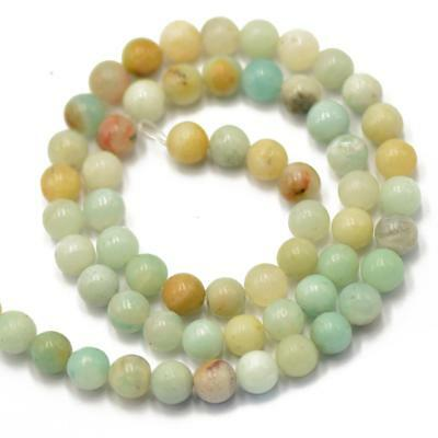 "15"" STRAND Natural Amazonite PLAIN ROUND LOOSE BEADS GEMSTONE 6mm Multicolor"
