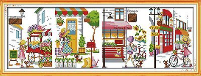 Counted Cross Stitch Kit - 4 X STREET SCENES IN ONE - 14ct