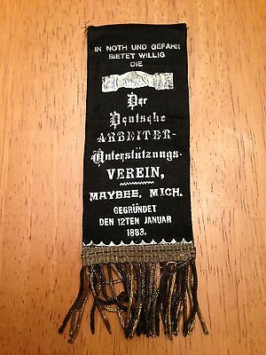 US German American Workers Association Ribbon from Maybee Michigan 1883 Wow!  |