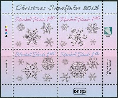 Marshall Islands 2015 Christmas Snowflakes Souvenir Sheet Mint Never Hinged