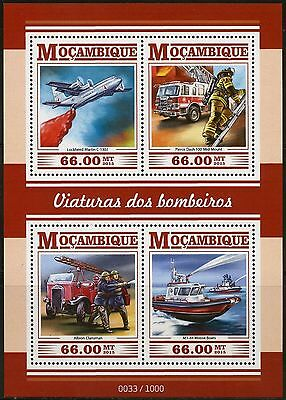 Mozambique  2015 Firefighting Vechiles, Planes & Boats Sheet  Mint Never Hinged