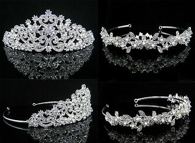 Weeding Crystal Sposa Tiara Diadema Velo Crown Accessorio Matrimonio Silver New