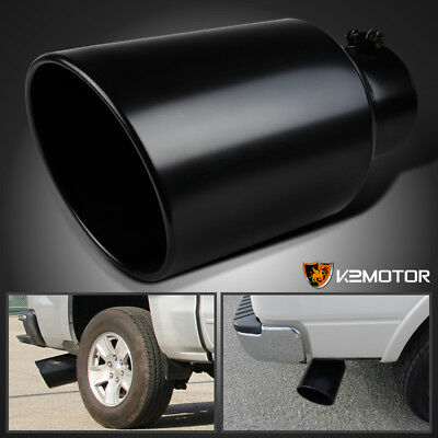 "5"" Tip 8"" Outlet 15"" Long Stainless Steel Roll Edge Truck Exhaust Tip Black"