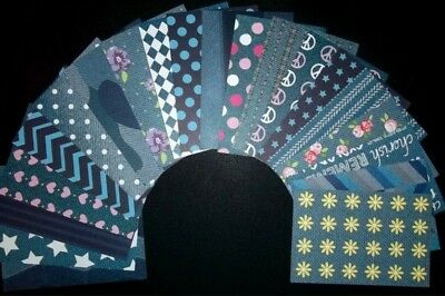 "New & Different *DENIM* Papers x 20- 15cm x10cm (6 x 4"") Scrapbooking/Cardmaking"