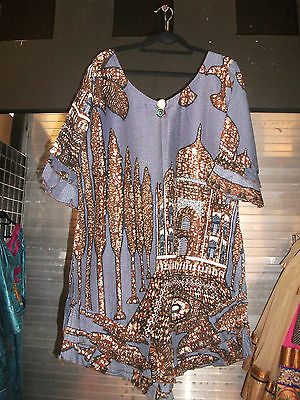 African 2 Pc Ladies Top And Wrap Brown And Light Blue Cotton