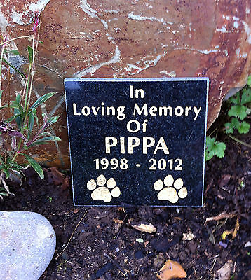 Polished Black Granite Pet Memorial Stone Plaque