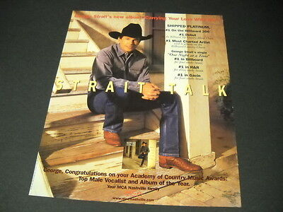 GEORGE STRAIT is Number One 6 times STRAIT TALK 1997 PROMO DISPLAY AD mint cond