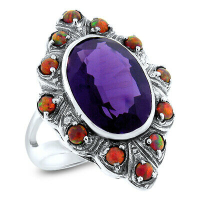 5 Ct. Lab Amethyst Opal Antique Victorian Style .925 Silver Ring Size 6.50, #234