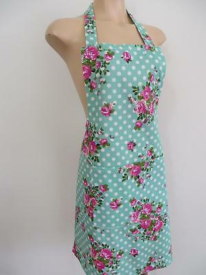 Pink Roses White Green Polka Dots Country Farm House 100% Cotton Women's Apron