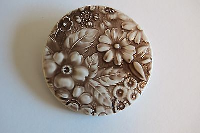 """Pretty Large Round Chocolate Brown Flower Floral Art Stone Shank Button  2-1/4"""""""