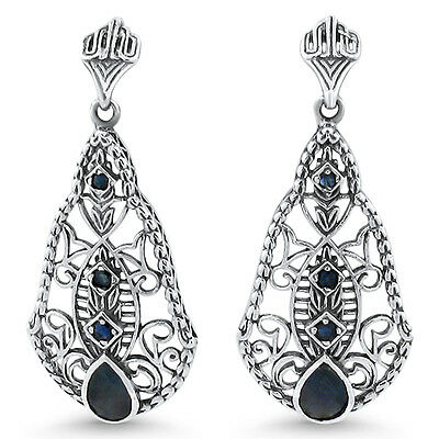 Genuine Sapphire Antique Design 925 Solid Sterling Silver Earrings,   #602